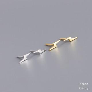 Bông tai, Khuyên tai nam nữ bạc mạ vàng hình tia chớp nhỏ thiết kế đơn giản, unisex KN22 (1 chiếc)| GEMY SILVER