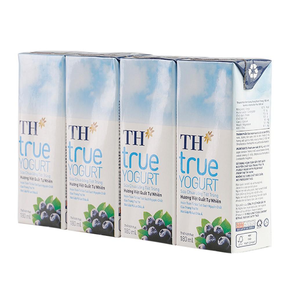 Lốc Sữa Chua Uống Tiệt Trùng Hương Việt Quất tự nhiên TH True Yogurt 180mlx4
