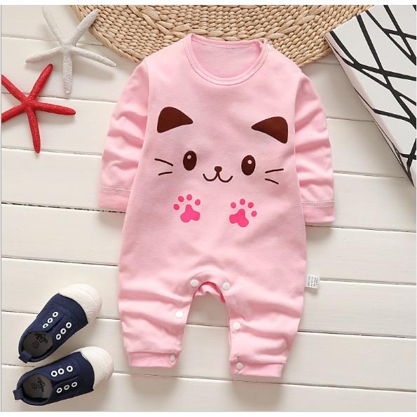 Body cotton cho bé gái hình chú mèo