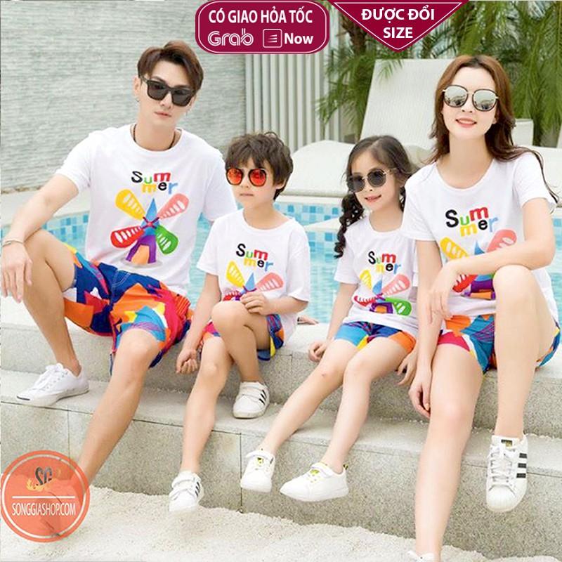 Áo gia đình thun cotton - Màu trắng - Đủ size - In Summer SGSTORE1