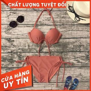 Bikini áo ngực quần chip cột nơ cam đất (9 màu) – Hàng nhập khẩu