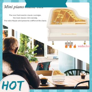 [vedecled] Creative Mini Piano Model Music Box Metal Antique Musical Case Wedding Gift NIGH