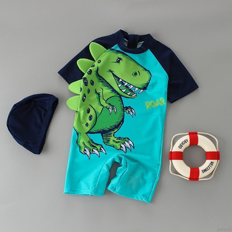 Đồ bơi ngắn tay in hình khủng long và mũ xinh xắn cho bé trai