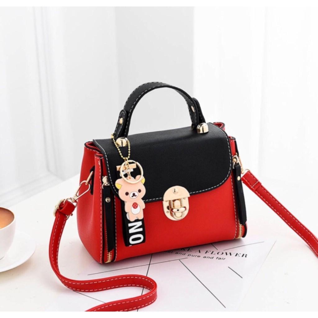 Túi xách nữ giá rẻ thời trang hàng nhập Quảng Châu loại 1 tặng kèm gấu TGAU386