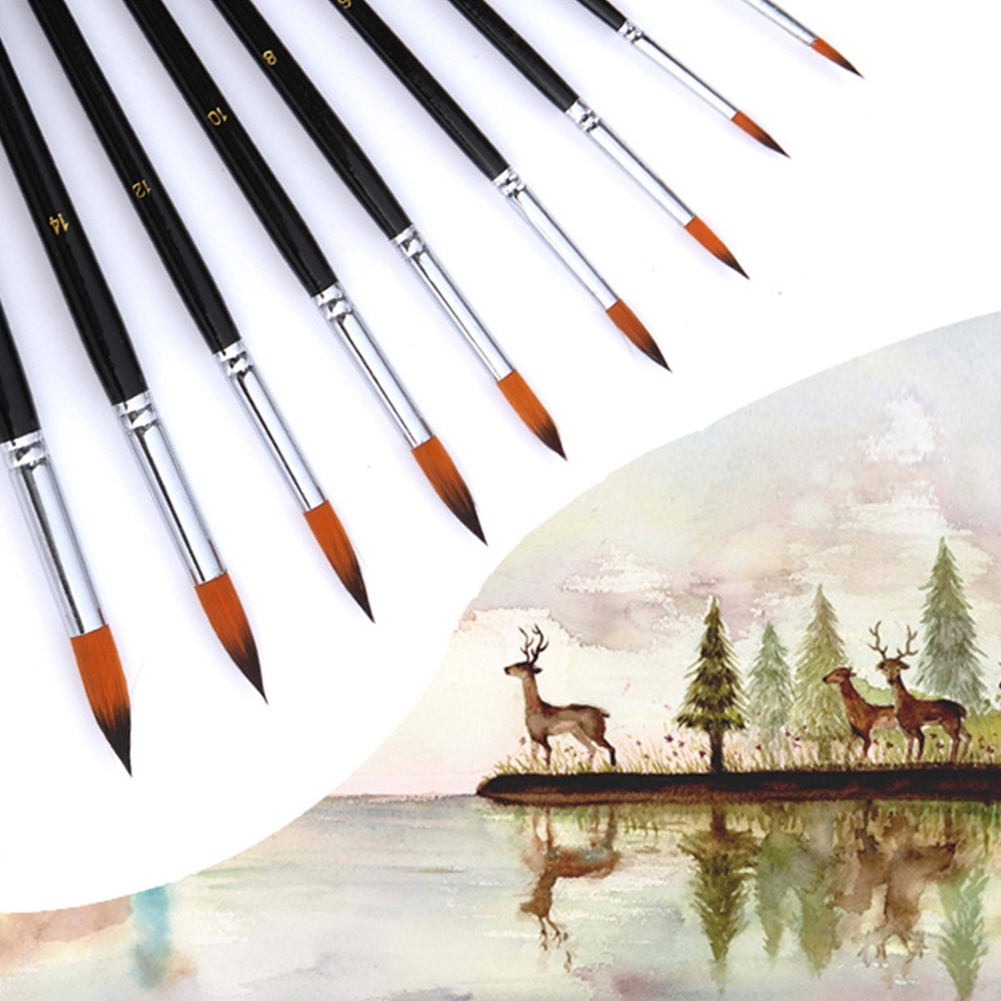 9pcs/Set Wood Handles Paint Brush Lightweight Art Supplies Nylon Accessories Oil Painting Professional Pen Watercolor