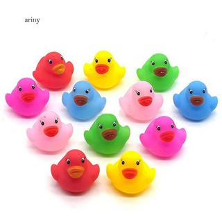 ♞12Pcs Mini Colorful Bathtime Kids Baby Bath Toy Ducks Squeaky Water Play Fun