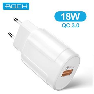 Cốc sạc nhanh ROCK QC3.0 USB 3.0 18W Đầu cắm EU cho Samsung iPhone