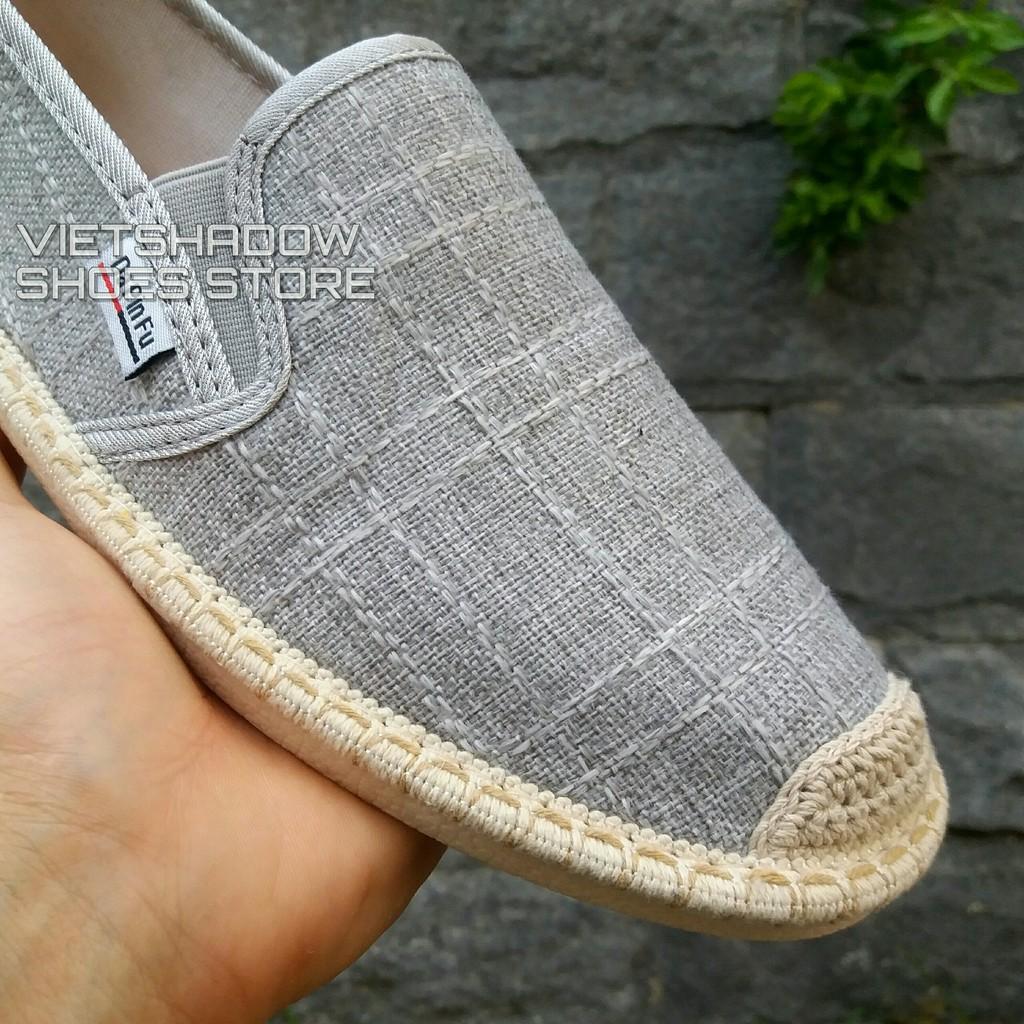 Slip on nam 2019 - Giày lười vải nam cao cấp - Vải bố 3 màu màu đen, xám và trắng ngà - Mã SP 2917