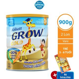 [Tặng Bộ bóng chày] Bộ 02 lon Sữa bột Abbott Grow 3 900g lon