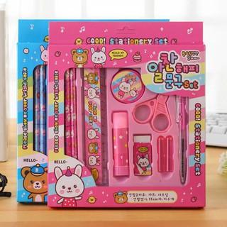 BOBORA Stationery Set of 10Pcs Birthday Gift Student Prizes Cute Blue Bear Pink Rabbit Random Colors