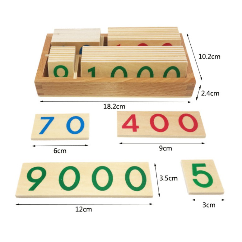 Hộp thẻ số bằng gỗ 1-9000 loại nhỏ Montessori - Mini Wooden Number Cards With Box 1-9000
