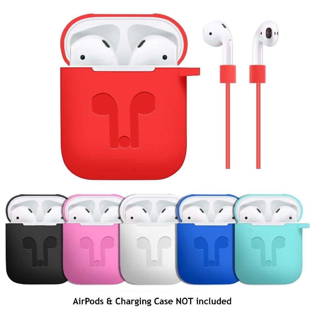 Hộp silicone đựng bảo vệ tai nghe thể thao kèm dây đeo chống thất lạc
