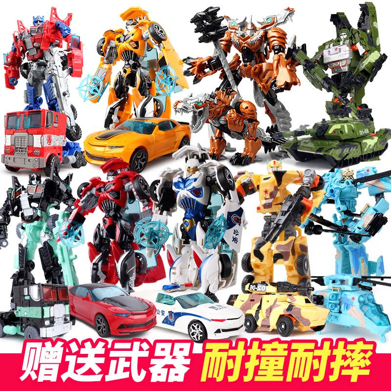 ◘Deformed toy King Kong 5 Bumblebee police car dinosaur transform robot model children's man
