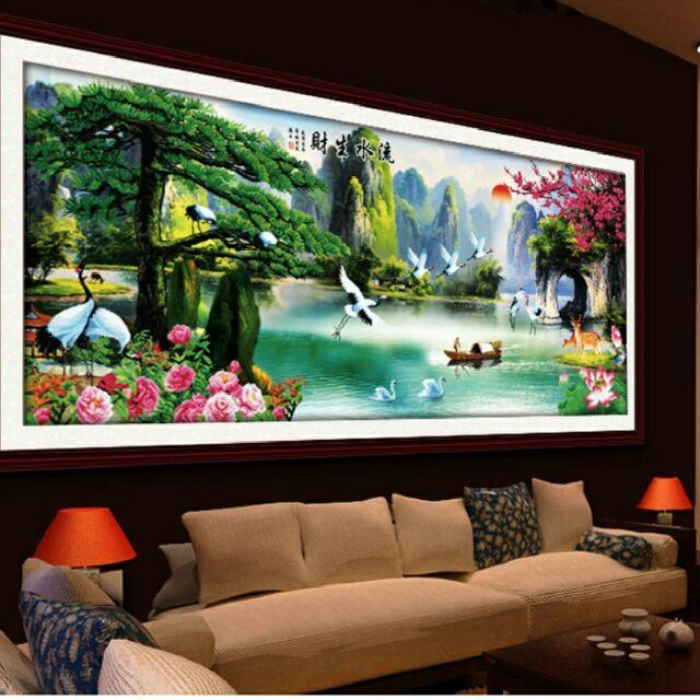 Tranh thêu phong cảnh khổ lớn 237x103cm