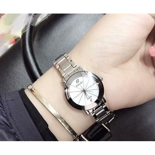 Đồng hồ Nam Nữ HALEI 457 dây bạc cao cấp dành cho các cặp tình nhân