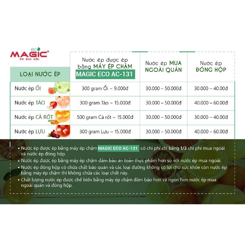 Máy Ép Chậm Thế Hệ Mới Ép Kiệt Bã Magic ECO AC131 Sản Xuất Tại Samutprakarn Thái Lan