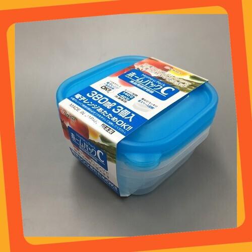 (Giá Hấp Dẫn)Set 3 hộp nhựa 380ml màu xanh Tiện Lợi