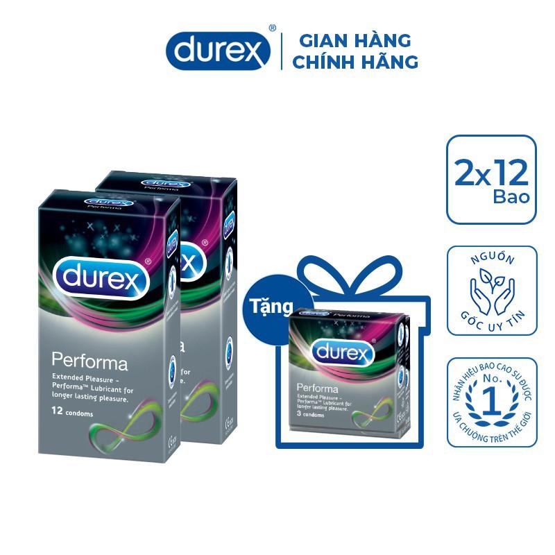 Bộ 2 hộp bao cao su Durex Performa (12 bao/hộp) + Tặng 1 hộp bao cao su Durex Performa 3 bao