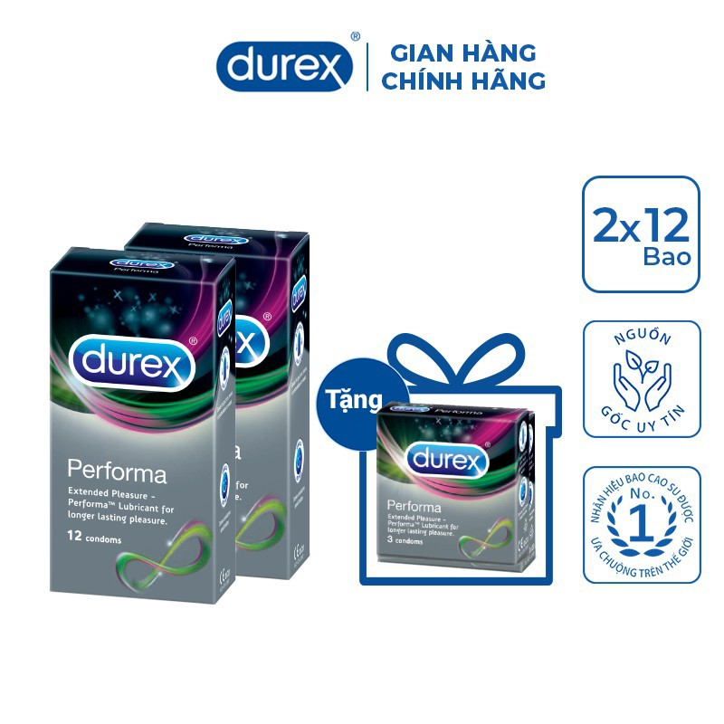 [Mã COSMALL25 -10% ĐH 250K]Bộ 2 hộp bao cao su Durex Performa (12 bao/hộp) + Tặng 1 hộp bao cao su Durex Performa 3 bao