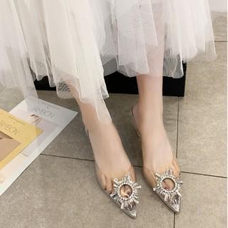 Giày cao gót nữ đính vòng tròn đá trong suốt thiết kế cao cấp