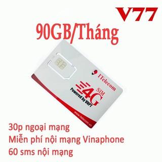 Sim Itelecom mạng sim 4G Vinaphone gói 3GB ngày (90GB tháng) Miễn phí gọi nội mạng Vinaphone thumbnail