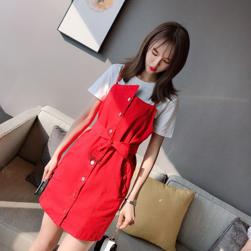 Korea's simple French temperament irregular single-breasted sling dress two-piece loose T-shirt bott