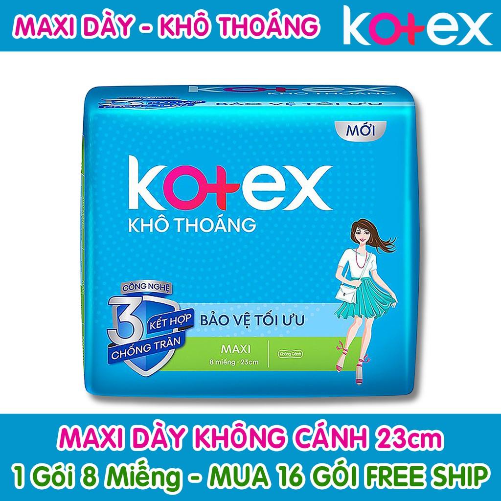 Băng Vệ Sinh Kotex Maxi Dày Không Cánh Khô Thoáng 23cm ( 1 Gói 8 Miếng - 1 Lốc 8 Gói )