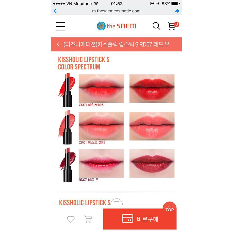 Son lỳ dưỡng ẩm (semi-matte) the SAEM Kissholic Lipstick S bản Limited Mickey về hàng SALE (Bill mua - 2412668 , 800060909 , 322_800060909 , 189000 , Son-ly-duong-am-semi-matte-the-SAEM-Kissholic-Lipstick-S-ban-Limited-Mickey-ve-hang-SALE-Bill-mua-322_800060909 , shopee.vn , Son lỳ dưỡng ẩm (semi-matte) the SAEM Kissholic Lipstick S bản Limited Mickey