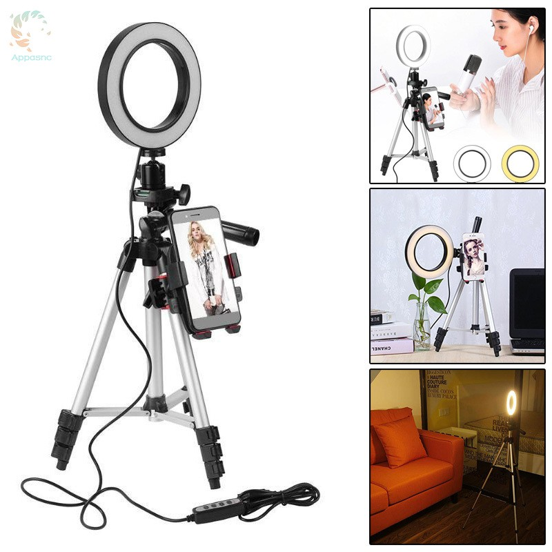 [BEST] 5.7inch Dimmable LED Ring Light Phone Holder Stand with Tripod for Camera Video Filming