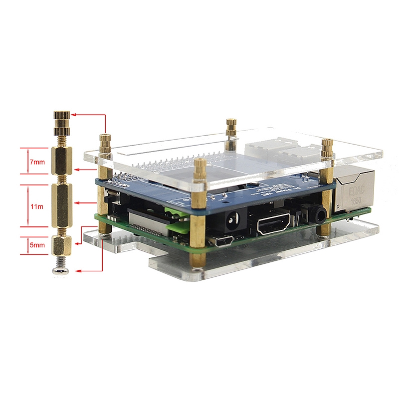 🌱Acrylic Case+Fan Power Expansion Board+Copper Heat Sink Kit Temperature Giá chỉ 344.000₫