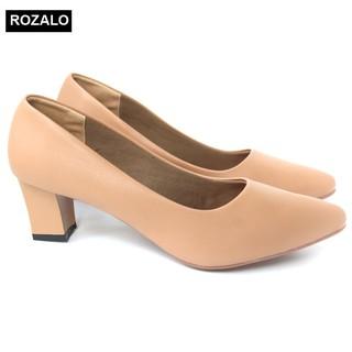 Giày nữ cao 5cm gót vuông mũi nhọn Rozalo RW5625