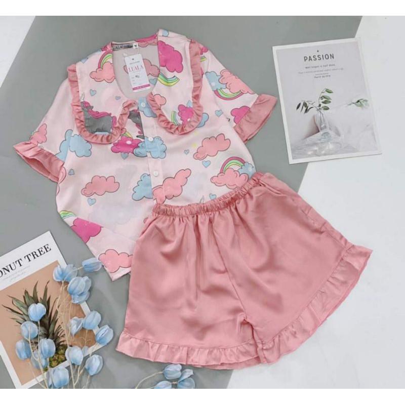 Mặc gì đẹp: Thoải mái với Pijama cộc đùi lụa satin latin phối hàn cao cấp hàng loại 1, sang xịn, mềm mát, bao lỗi 1 đổi 1