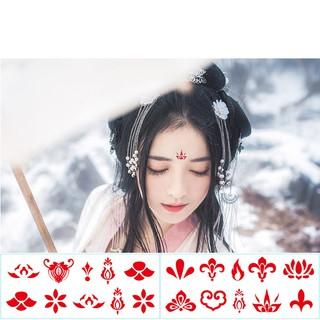 [1 tấm ) Hình xăm dán trán cổ trang Chu sa cho mỹ nhân Trung Hoa xinh xắn