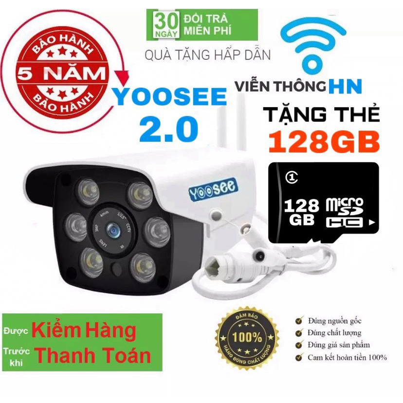 [CÓ MẦU BAN ĐÊM] camera wifi ngoài trời 2.0 1080p LƯU TRỮ 128GB - trong nhà camera yoosee 2.0 hd 1080p