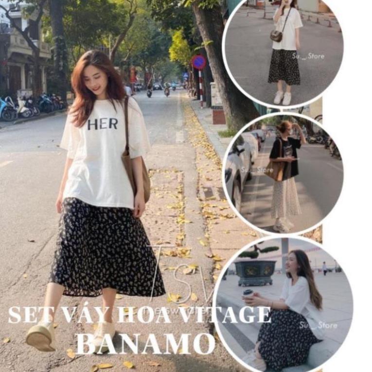 Chân váy hoa dáng dài phong cách vintage chân váy hoa nhí siêu đẹp hot trend năm nay thời trang BANAMO 591