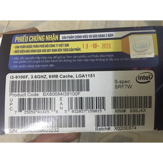Bộ vi xử lý CPU intel i3 9100f mã 7w