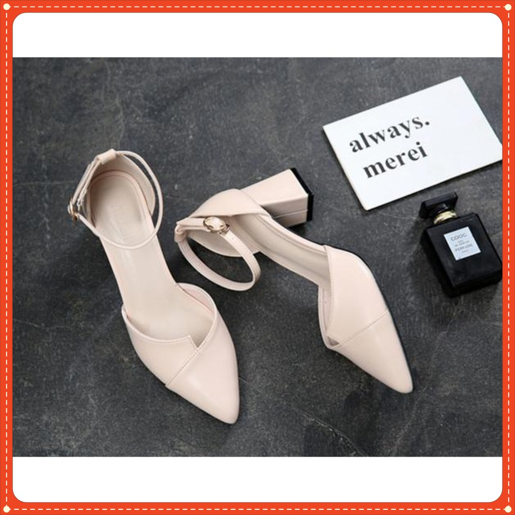Giày Mũi Nhọn 1 Màu Hở Gót Cao 5cm mã C26