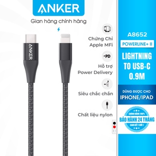 [Không kèm bao da] Cáp sạc ANKER PowerLine+ II Lightning to USB-C dài 0.9m - A8652 thumbnail