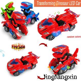 ♛♚♛Luminous Transforming Dinosaur Car Toys Electric T-Rex Kids Deformation Toy With Light Sound ,Gift