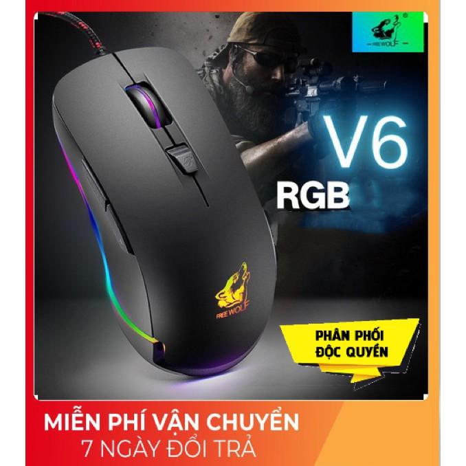 Chuột Máy Tính Game ❤️FREESHIP❤️ Chuột Gaming V6 Led RGB Chỉnh Được Chế Độ Led, Chuột Máy Tính Gaming