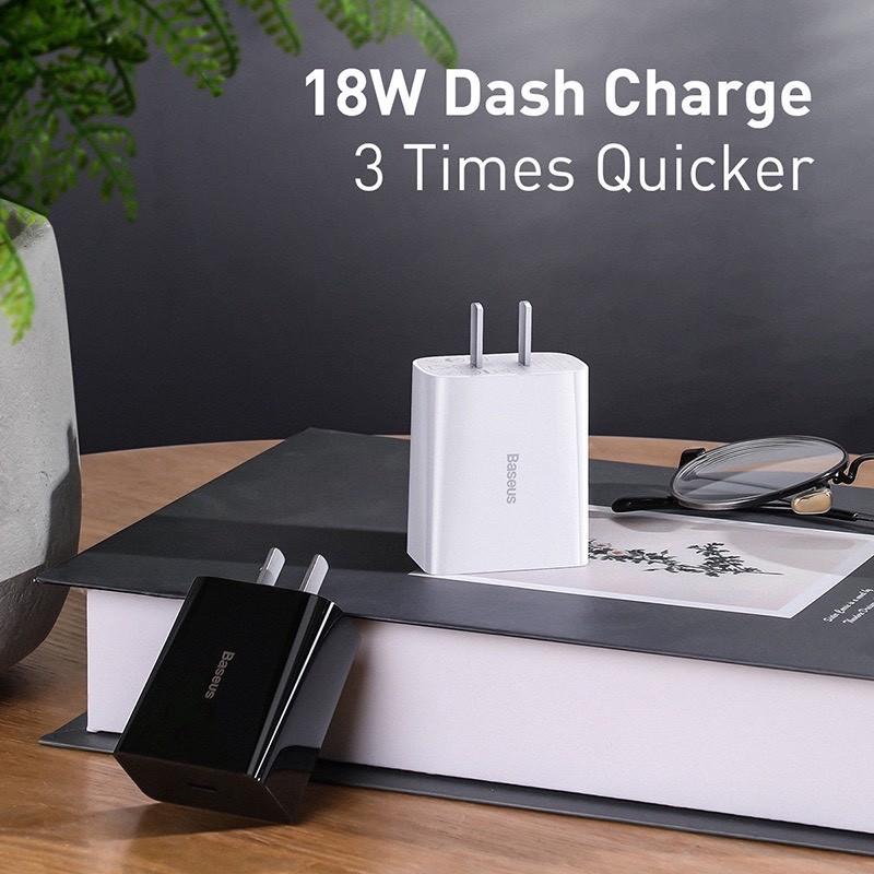 Củ sạc nhanh Baseus 18/20W PD/QC - Hỗ trợ sạc nhanh iPhone - Chống cháy nổ - Chính Hãng