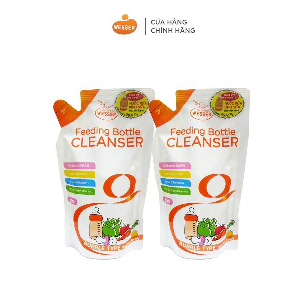Bộ 2 gói nước rửa bình sữa Wesser 500ml (Nhập khẩu Hàn Quốc)
