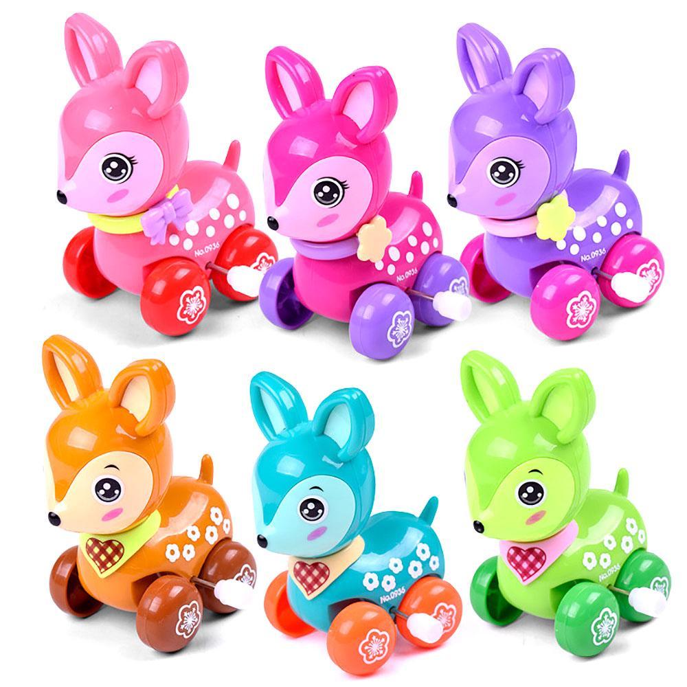 Cute Wind Up Clockwork Running Animal Sika Deer Baby Kids Toys New