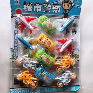Bộ đồ chơi ô tô máy bay chạy cót vỉ 12 cái