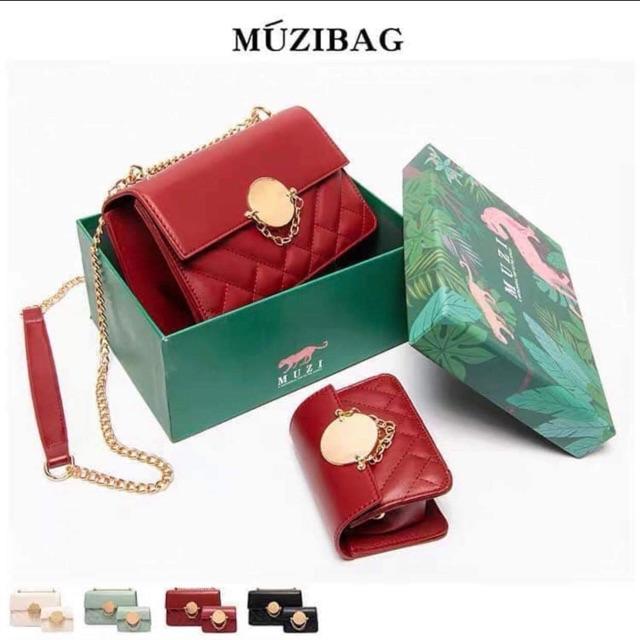 Set túi Muzi + áo lót đỏ đen 34 ( trả khách order)