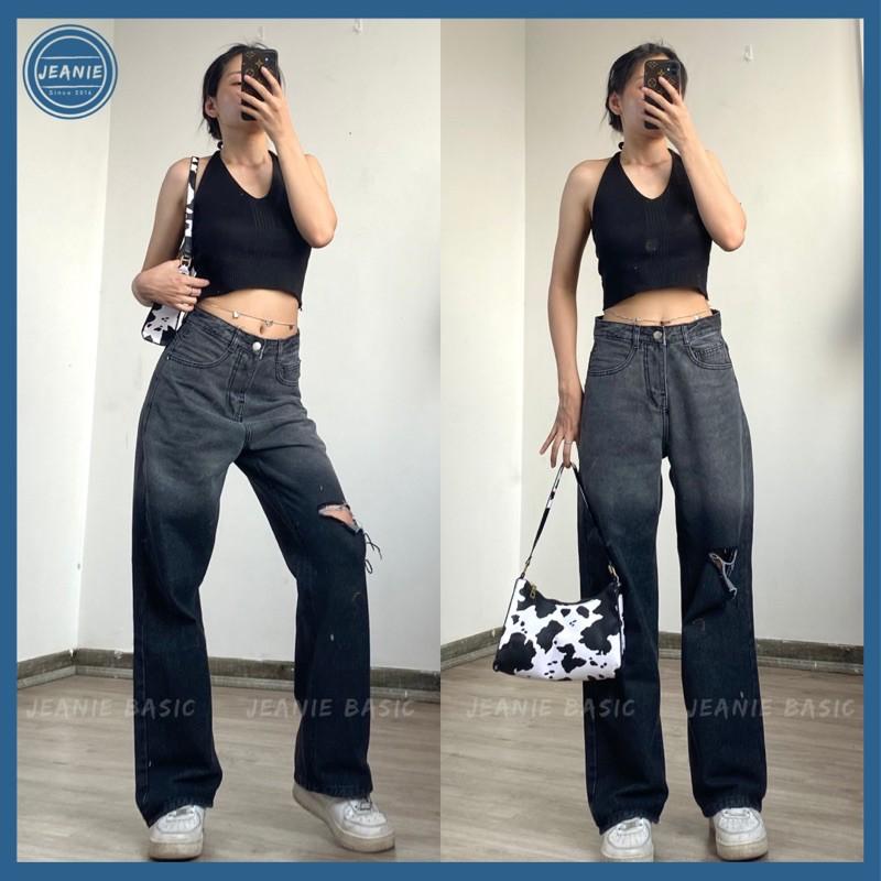 Quần jeans nữ ống suông dài JEANIE 328 quần jean rách gối, quần jean loang màu cá tính