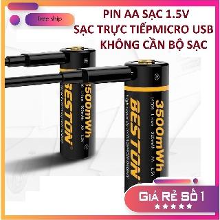 Pin tiểu sạc AA Beston 1.5V 3500mWh cao cấp sạc nhanh trực tiếp bằng cổng micro USB không cần bộ sạc