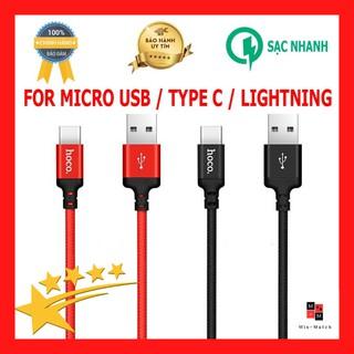 Dây cáp sạc nhanh Hoco X14 Lighting Type C Micro USB-Sạc Iphone Ipad Android Android Micro-Chính hãng Hoco thumbnail
