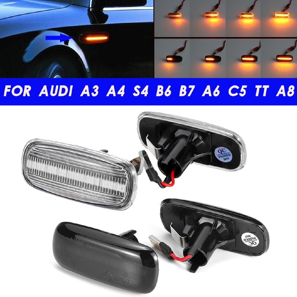 2x Dynamic Flowing Side Marker LED Lights Lamp For Audi A3 A4 S4 B6 B7 A6 C5 TT
