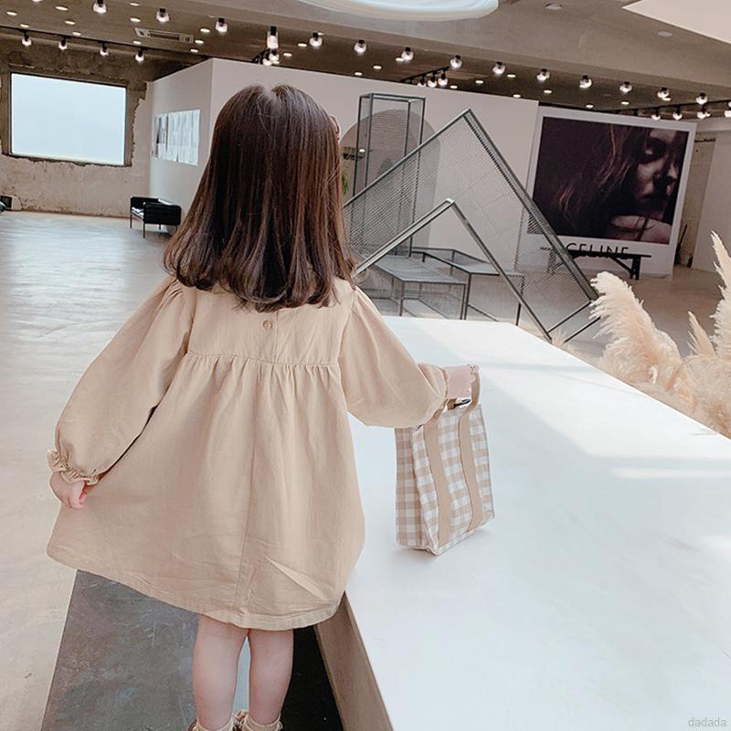 Đầm tay phồng thiết kế thêu họa tiết thời trang xinh xắn cho bé gái